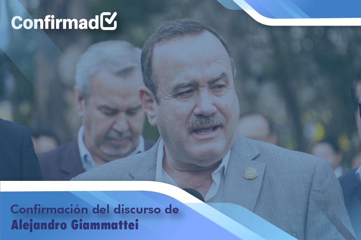 Confirmación del discurso de proclamación de Alejandro Giammattei