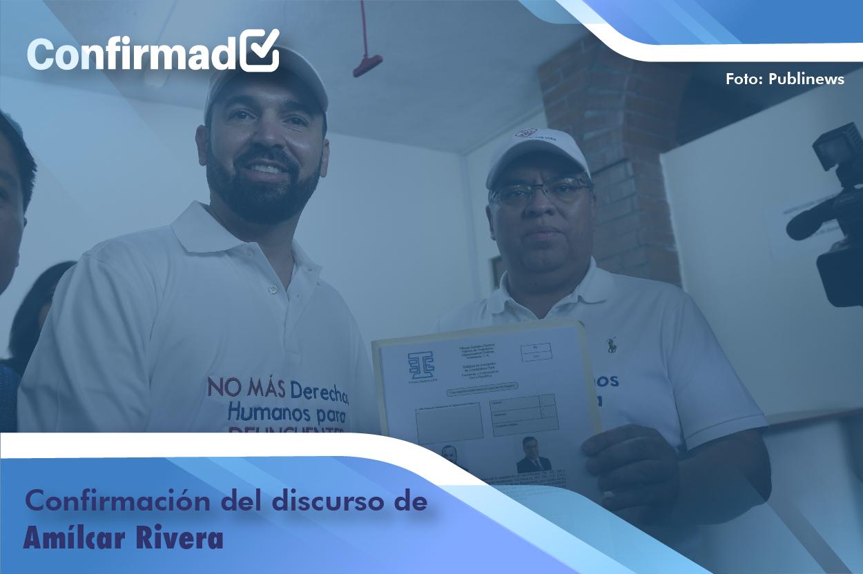 Confirmación del discurso de proclamación de Amilcar Rivera
