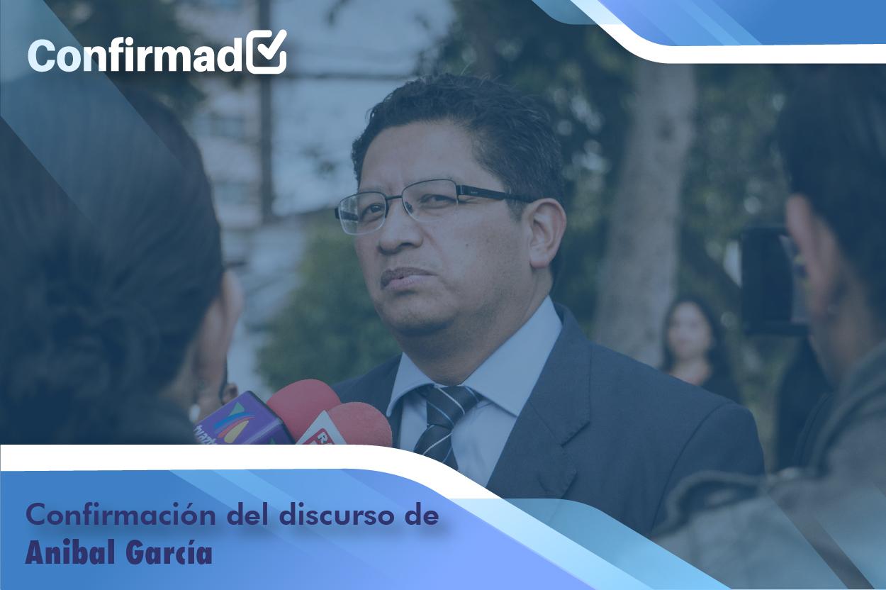 Confirmación del discurso de proclamación de Aníbal García