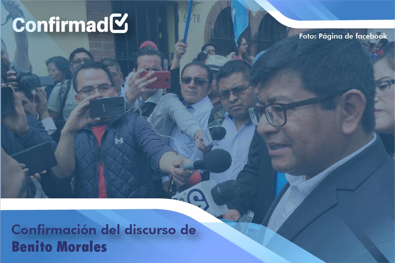 Confirmación del discurso de proclamación de Benito Morales