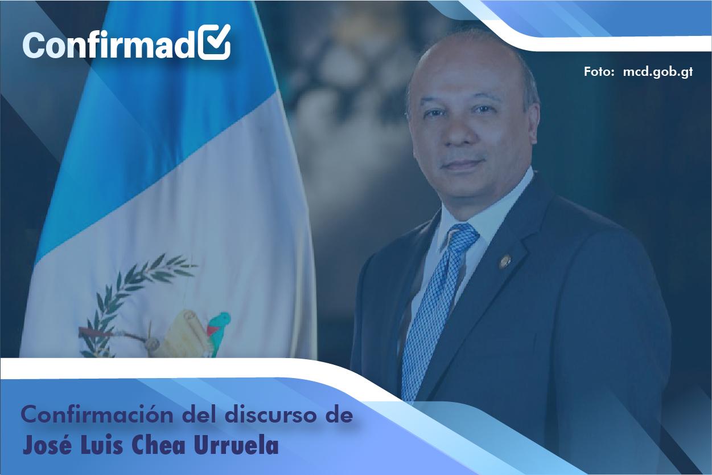 Confirmación del discurso de proclamación de José Luis Chea Urruela