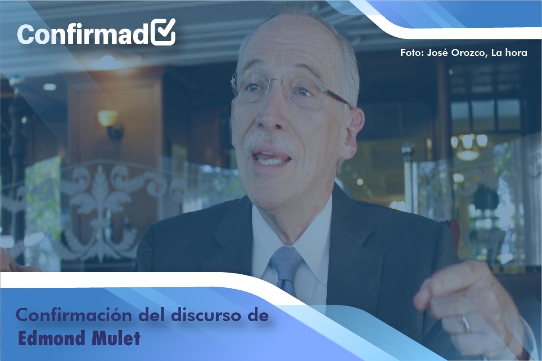 Confirmación del discurso de proclamación de Edmond Mulet