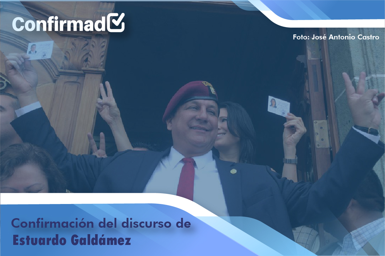 Confirmación del discurso de proclamación de Estuardo Galdámez