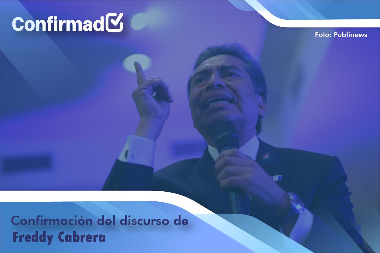 Confirmación del discurso de proclamación de Fredy Cabrera