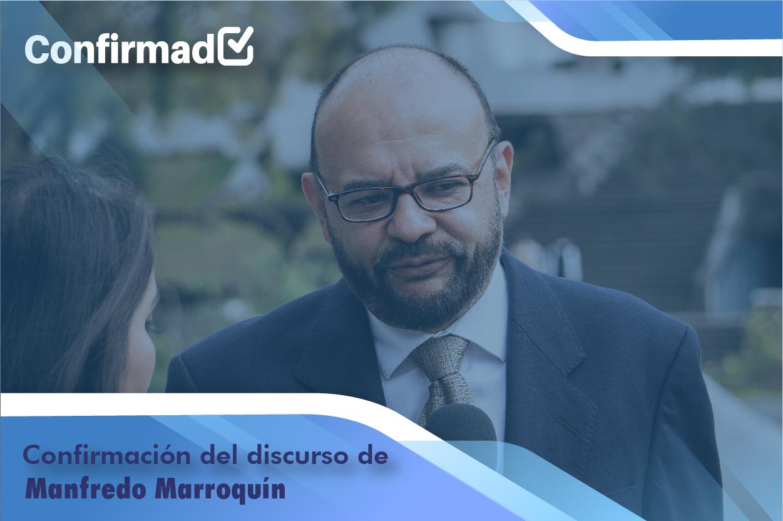 Confirmación del discurso de proclamación de Manfredo Marroquín
