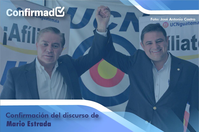 Confirmación del discurso de proclamación de Mario Estrada