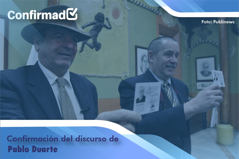 Confirmación del discurso de proclamación de Pablo Duarte