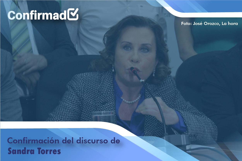 Confirmación del discurso de proclamación de Sandra Torres