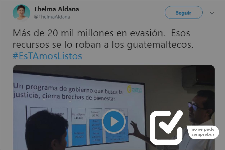 No se puede probar que se pierden Q20,000 millones en evasión, como asegura Thelma Aldana