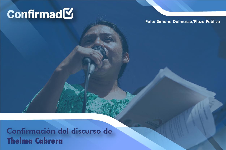 Confirmación del discurso de proclamación de Thelma Cabrera