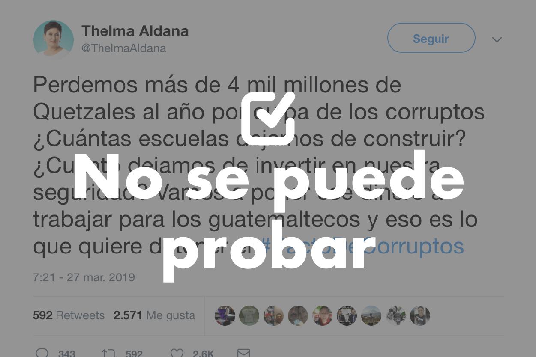 No se puede probar que se pierden Q4,000 millones en corrupción, como asegura Thelma Aldana