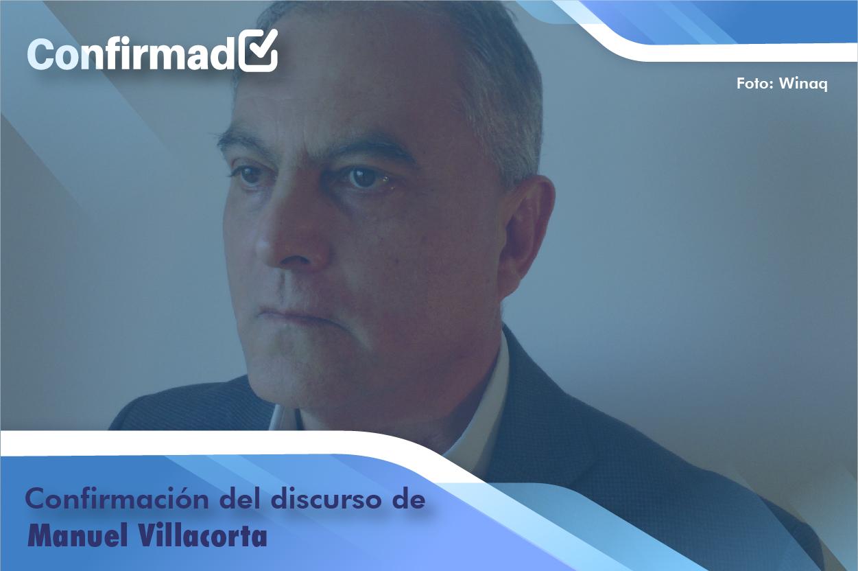 Confirmación del discurso de proclamación de Manuel Villacorta