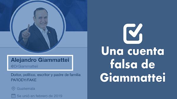 Una cuenta falsa de Alejandro Giammattei en Twitter
